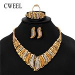 CWEEL <b>Jewelry</b> Set Earrings For Women Nigerian Beads Party Fashion <b>Necklace</b> Set Gold Color Imitation Crystal Luxury Jewellery