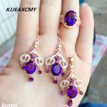 KJJEAXCMY Fine jewelry, Women's jewelry, Amethyst set, 925 <b>silver</b> wedding jewelry, three sets of zircon bridal suit