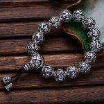 925 <b>Sterling</b> <b>Silver</b> Thai Retro Men <b>Jewelry</b> Six Words Mantra Buddha Beads Transfer Rosary Bracelet CH054149