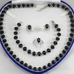 Women's Wedding noble designed black GEM necklace, earings, bracelet ring(7-10#) <b>jewelry</b> sets real silver-<b>jewelry</b>