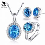 ORSA JEWELS Fashion Women Silver Color Pendant <b>Necklace</b> Ring Earings Engagement <b>Jewelry</b> Set with Osean Bule Cubic Zirconia OS104