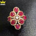 Natural Ruby gems stone <b>ring</b> Genuine 925 <b>sterling</b> <b>silver</b> <b>ring</b> women jewelry