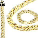 <b>Silver</b> Gold Tone 15mm 30″ Iced Out Hip Hop Cz Chain Necklace &8.5″ <b>Bracelet</b> Mens Miami Cuban