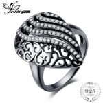 JewelryPalace Fashion Water Drop Cubic Zirconia Cocktail Ring 925 Sterling <b>Silver</b> 18K Black Gold Plated Fine <b>Jewelry</b> For Women