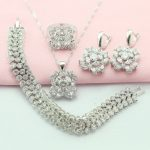 WPAITKYS Selling White Cubic Zirconia <b>Silver</b> Color Jewelry Sets For Women Necklace Drop Earrings <b>Bracelet</b> Ring Free Gift Box
