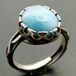 Natural Larimar Ring 100% 925 Sterling <b>Silver</b> <b>Jewelry</b> Vintage Ring Oval Larimar Stone Wedding Rings Women Adjustable Ring Size