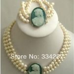 wholesale good 3Rows 7-8mm White Akoya Pearl Cameo Beads Necklace 17-18″ <b>Bracelet</b> 7.5″
