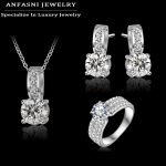 ANFASNI New Arrival Wedding <b>Jewelry</b> Set Silver Color Cubic Zircon Necklace/Earring/Ring Set Choose Size For Ring CST0022-B