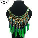 ZXZ 2018 Women bohemian Leaf Pendant Necklace Green Feather Statement Choker Necklace <b>Antique</b> Tribal Ethnic Boho <b>Jewelry</b> Bijoux