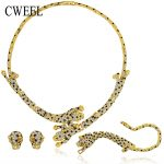 CWEEL <b>Jewelry</b> Set For Women Wedding Fashion Leopard Imitation Crystal Gold Color Necklace Earrings Bracelet Rings <b>Accessories</b>