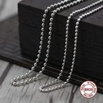 S925 Sterling <b>Silver</b> <b>Necklace</b> Personality simple wild ball <b>necklace</b> Classic couple style sweater chain Send a gift to love