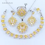 L&B Sparkling Yellow Cubic Zirconia Square Wedding Jewelry Sets 925 <b>Silver</b> Color <b>Bracelet</b> Pendant Necklace Earrings Ring