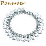 100% 925 <b>Silver</b> Wedding Party 14 hearts Tiff <b>Bracelet</b> manchette femme bangles for women personality Gift Jewelry