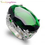 Yunkingdom Cut Oval Green Cubic Zirconia <b>Wedding</b> Fine <b>Jewelry</b> Banquet Party Rings Big zircons White Gold Color Fine Ring