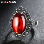 ZHJIASHUN <b>Handmade</b> Red Agate Stone Rings Vintage 925 Sterling Silver Ring for Women Female Fine <b>Jewelry</b>