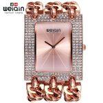 WEIQIN Ladies <b>Bracelet</b> Watches for Women <b>Silver</b> Rhinestone Square Dial Bangle Watch Female Wristwatch reloj relogios femininos