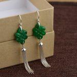 925 Sterling <b>Silver</b> Long Tassel <b>Earrings</b> Drop Beautiful Natural Green Jade <b>Earrings</b> For Women Chinese Knotting Design