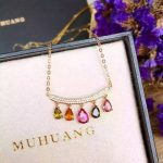 Natural Multicolor tourmaline Necklace natural gemstone Pendant Necklace S925 <b>silver</b> Fashion Elegant Smiling face drop <b>Jewelry</b>