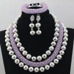 2017 Trendy New Hot Splendid <b>Silver</b> Bead Costume African Jewelry Sets Lilac Crystal Beaded Necklace Set 2017 Free ShippingABL700