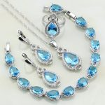 925 Sterling <b>Silver</b> Jewelry Sky Blue CZ White Cubic Zirconia Jewelry Sets For Women Party Earring/Pendant/Necklace/<b>Bracelet</b>/Ring