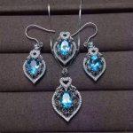 Natural blue topaz gem jewelry sets natural gemstone ring Pendant <b>Earrings</b> 925 <b>silver</b> Elegant luxurious Hollow women jewelry