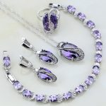 4PCS Purple Cubic Zirconia White CZ 925 Sterling <b>Silver</b> Jewelry Sets For Women Wedding Earrings/Pendant/Necklace/<b>Bracelet</b>/Ring