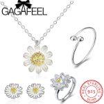 GAGAFEEL 100% 925 Sterling Silver <b>Jewelry</b> Set Daisy Flower White Enamel Sterling Silver <b>Necklace</b> Earrings Ring Bangle <b>Jewelries</b>