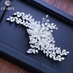 CC hair coms crown hairpins full cz stone luxury <b>wedding</b> accessories bridal engagement <b>jewelry</b> shine leaf shape crystal XY242