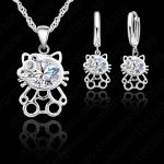 JEXXI 2018 Exquisite 925 Sterling Silver CZ Zircon Crystal Kitty Necklace Earring <b>Jewelry</b> Set For Woman Girls Lovely Gift
