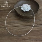 Lotus Fun Real 925 Sterling Silver <b>Handmade</b> Fine <b>Jewelry</b> Fashion Choker Necklace Chain for Women Collier Femme Accessories