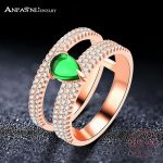 ANFASNI Top Quality <b>Wedding</b> Bands 925 Sterling Silver Ring <b>Wedding</b> Engagement Rings With Green Stone For Women Ring <b>Jewelry</b>
