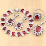 925 Sterling <b>Silver</b> Jewelry Sets Red Cubic Zirconia White CZ Beads Decoration For Women Earrings/Pendant/Necklace/Rings/<b>Bracelet</b>