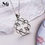 100% 925 sterling silver oxidation special knot pendant chain necklace authentic European diy fashion <b>jewelry</b> <b>making</b> men gifts