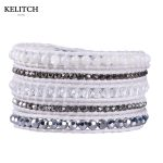 KELITCH <b>Jewelry</b> <b>Handmade</b> 5 Wrap Bracelets Crystal Beaded Silver Color Nuggets Mixed Charm Bracelet Customized LOGO with Card Box
