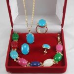 Prett Lovely Women's Wedding charming Sets GP multicolor gem pendant bracelet ring earringAA11 5.23 silver <b>jewelry</b> brinco
