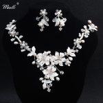 Miallo luxury Silver Rhinestone Bridal <b>Jewelry</b> Sets Necklace Earrings <b>Handmade</b> Pearl <b>Jewelry</b> Set Wedding Bride Designer NS-J5890