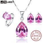 JQUEEN 925 Sterling <b>Silver</b> Jewelry set Mystic Topaz set Pink Water Drop Desgin Necklace <b>Earring</b> Ring sets Women Jewelry set