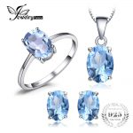 JewelryPalace Oval 5.8ct Natrual Blue Topaz Ring Stud Earrings Pendant Necklace 925 <b>Sterling</b> <b>Silver</b> <b>Jewelry</b> Sets 45cm Box Chain