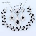 L&B Wedding Jewelry Sets <b>silver</b> color 925 Black stone White Crystal For Women Pendant/Necklace/<b>Bracelet</b>/Earrings/Ring