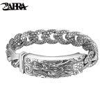 ZABRA Genuine 925 <b>Sterling</b> <b>Silver</b> Dragon Curb Chain Men Bracelet Vintage Punk Thai Sliver Handcrafted Bracelets For Men <b>Jewelry</b>
