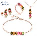 LAMOON 100% 925-<b>Sterling</b>–<b>Silver</b> 4PCS <b>Jewelry</b> Sets Natural Gemstone Tourmaline S925 Fine <b>Jewelry</b> For Women Wedding Gift V006-1