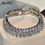 JUNXIN Unique Geometric Design Women AAA Zircon Bracelet High Quality 10KT White Gold Filled <b>Jewelry</b> Vintage <b>Wedding</b> Bracelets