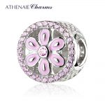 ATHENAIE 925 Sterling <b>Silver</b> Pave Pink CZ Floral Daisy Bead Charms Fit <b>Bracelet</b>/Pendant Necklace DIY Jewelry Making