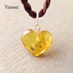 Yoowei Heart Amber Pendant for Women Clear Flying Animal Sterling <b>Silver</b> Drop Natural Insects Amber Pendants <b>Necklace</b> Wholesale