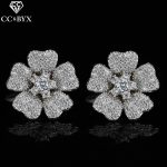 CC earrings for women crystal beads romantic stud earring flowers shape rhinestone wedding <b>accessories</b> bride cz <b>jewelry</b> E0093
