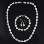 Solid 925 Sterling <b>Silver</b> Freshwater Pearl Jewelry Set White Drop Pearls Necklace <b>Bracelet</b> and Earrings