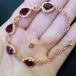 hot sale red garnet <b>bracelet</b> in 925 sterling <b>silver</b> jewelry rose gold color MEDBOO new fashion natural gemstone hand jewelry