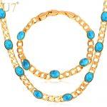 U7 Blue Stone <b>Jewelry</b> Set Trendy Gold Color Turkey Women's Earrings <b>Necklace</b> Set Wholesale S587