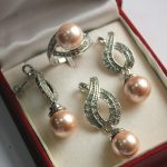 Prett Lovely Women's Wedding Hot! noble new <b>jewelry</b> silver plated + 12mm pink shell pearl pendant, earring, , ring set