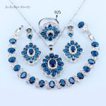 L&B <b>Handmade</b> Blue crystal White Zircon Silver Color <b>Jewelry</b> Sets For Wedding 925 logo Earrings/pendant/necklace/ring